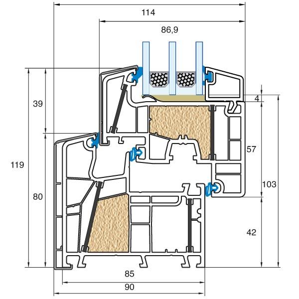 Twinset energeto 8000ed kunststoff alu fenster for Fensterdetail