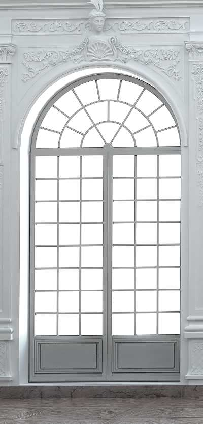 Rundbogenfenster Mit Panel. Bogenfenster Mit Sprossen